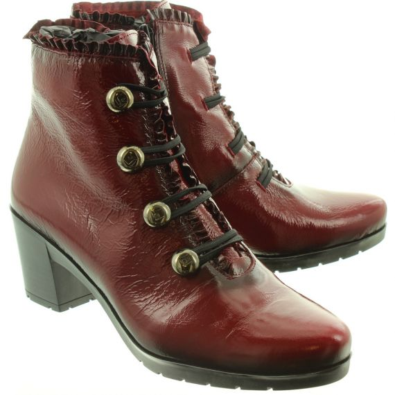 JOSE_SAENZ 5176 Ladies Button Boots In Red Patent
