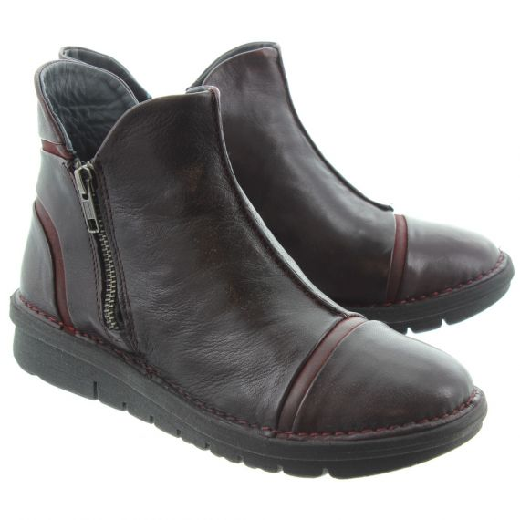 KHRIO Ladies 5003 Flat Ankle Boots In Burgundy
