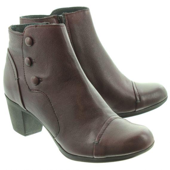 KHRIO Ladies 1103 Heel Ankle Boots In Burgundy
