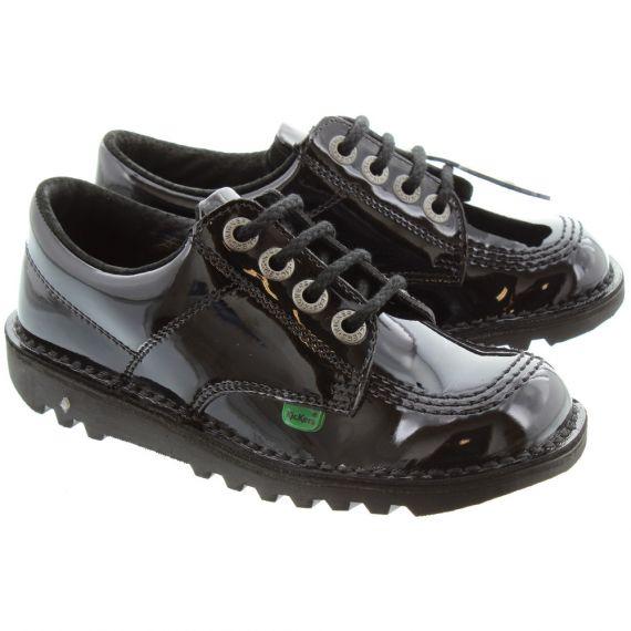 KICKERS Kids Kick Lo Shoes in Black Patent