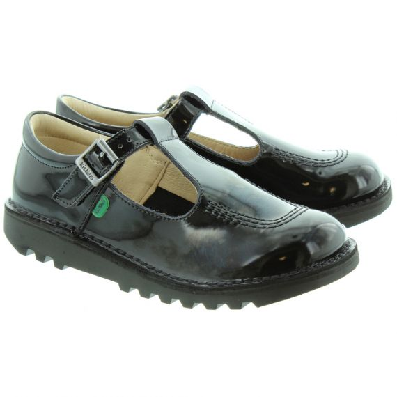 KICKERS Kids Kick T Bar Shoes in Black Patent