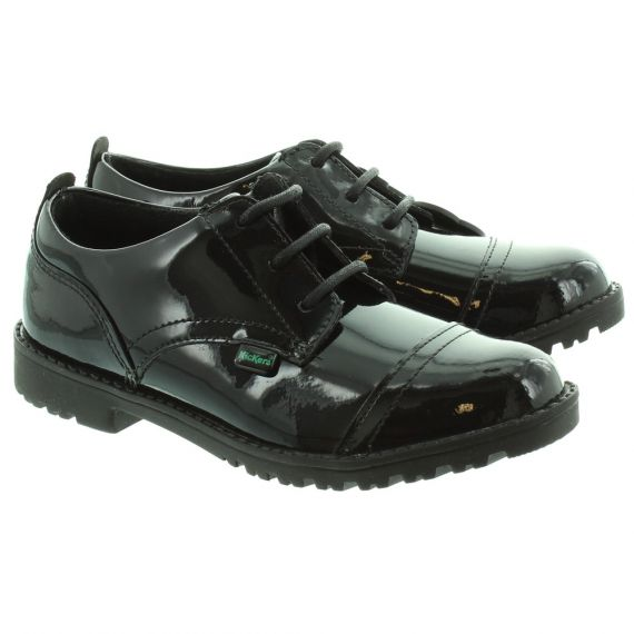 KICKERS Kids Lachly Lace Shoes in Black Patent