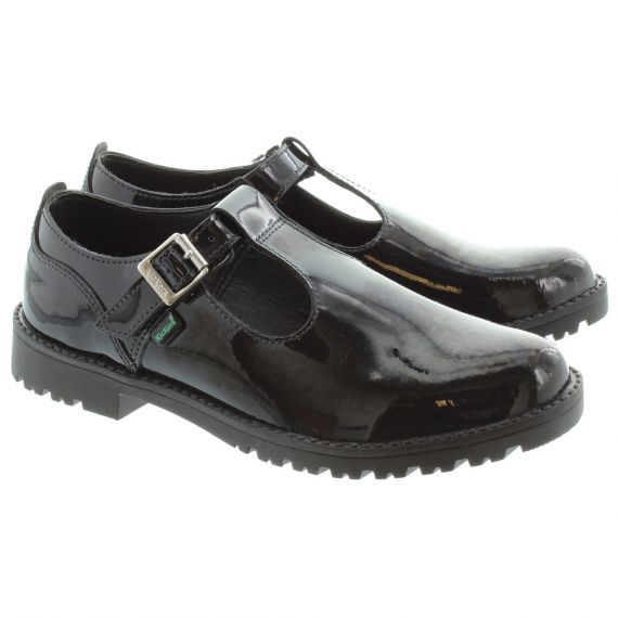 KICKERS Kids Lachly T Bar Shoes in Black Patent