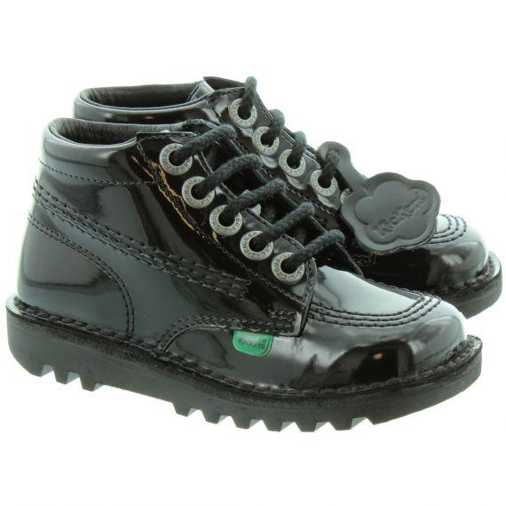 KICKERS Kids Leather Kick Hi Boots in Black Patent