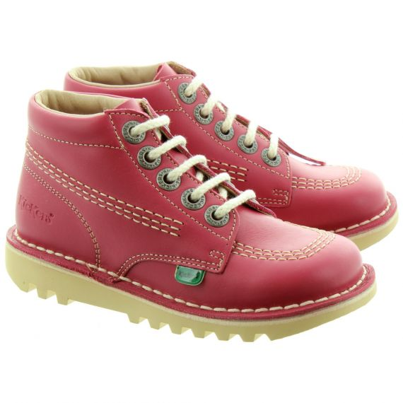 KICKERS Kids Leather Kick Hi Boots In Blossom Pink