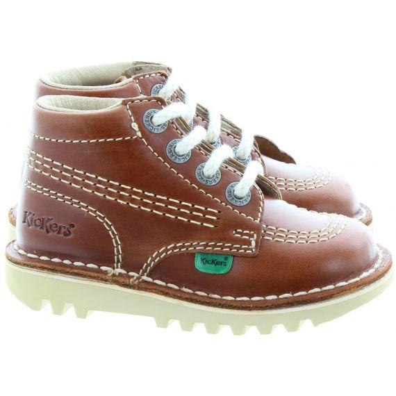 KICKERS Kids Leather Kick Hi Boots In Dark Tan