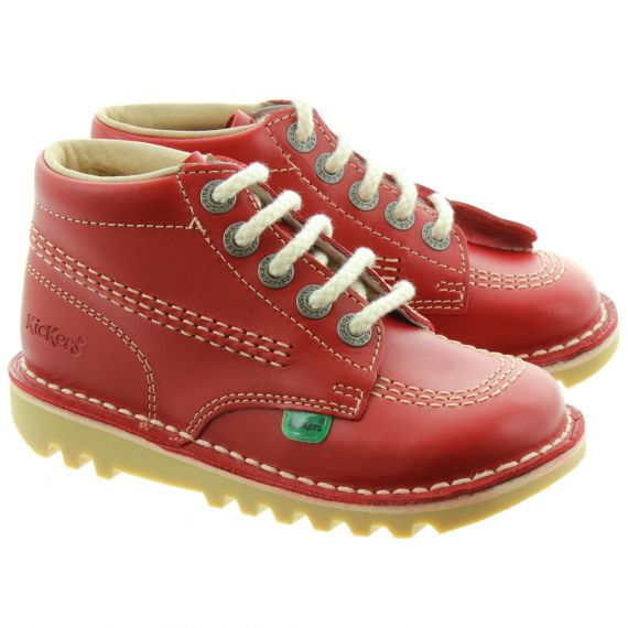 KICKERS Kids Leather Kick Hi Boots In Red