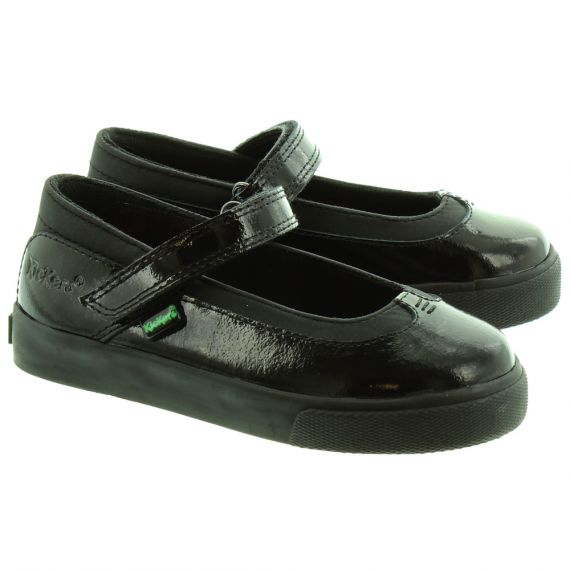 KICKERS Kids Tovni Bar Infant Shoes in Black Patent