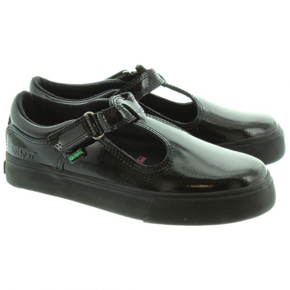 KICKERS Kids Tovni T Bar Shoes in Black Patent
