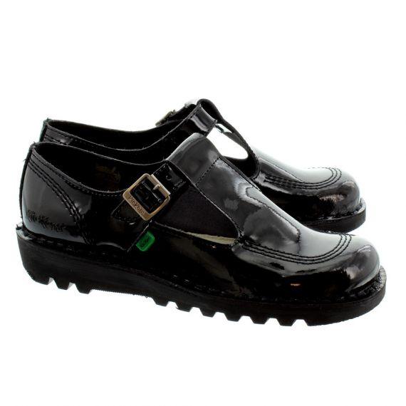 KICKERS Ladies Kick Lo Aztec T-Bar Shoes In Black Patent