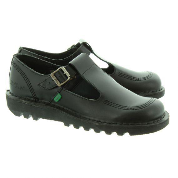 KICKERS Ladies Kick Lo Aztec T-Bar Shoes In Black