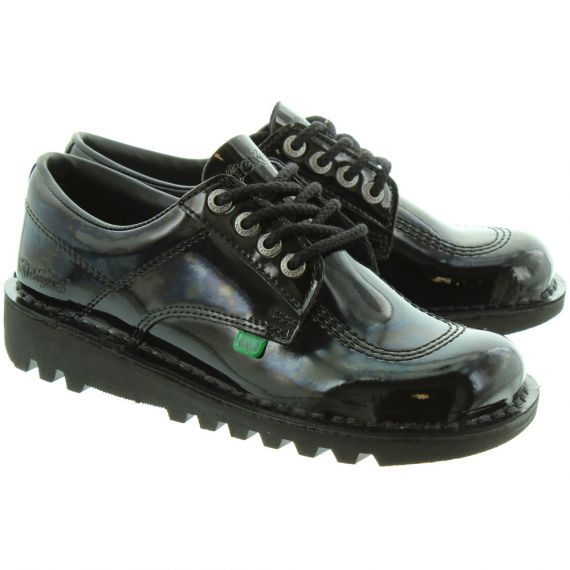 KICKERS Ladies Kicklo Patent Lace Shoes in Black Patent