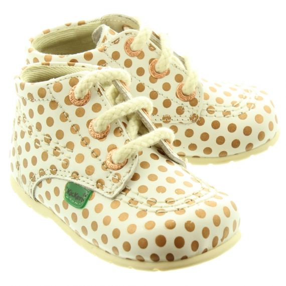 KICKERS Leather Kick Hi Baby Core Shoes In Spot