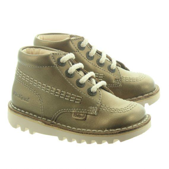 KICKERS Leather Kick Hi Kids Boots In Bronze