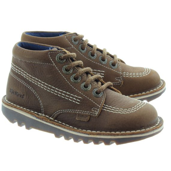 KICKERS Leather Kick Hi Kids Boots in Brown