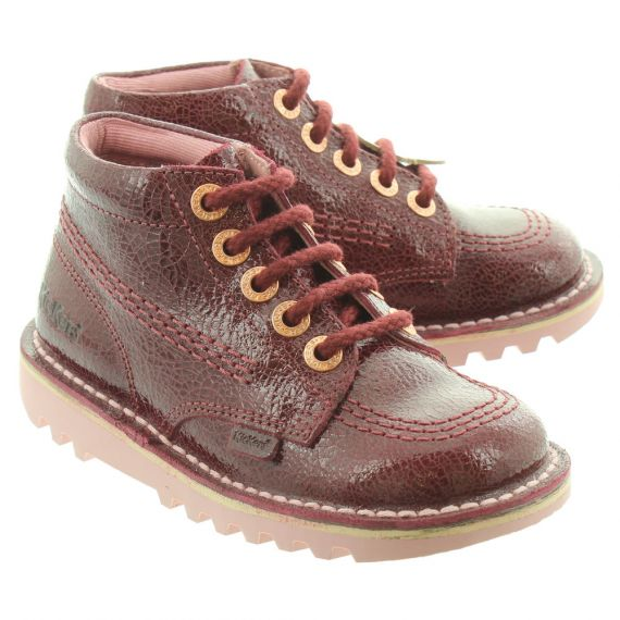KICKERS Leather Kick Hi Kids Boots In Burgundy