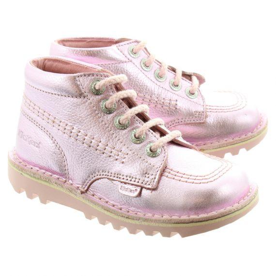 KICKERS Leather Kick Hi Kids Boots In Pink