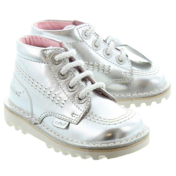 KICKERS Leather Kick Hi Kids Boots In Silver