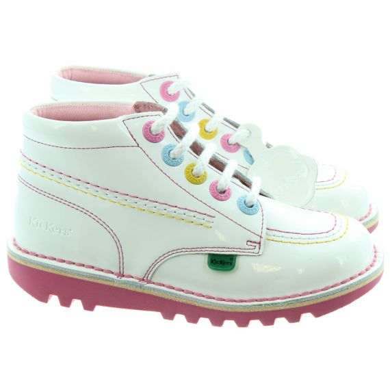 KICKERS Leather Kick Hi Kids Boots In White And Pink