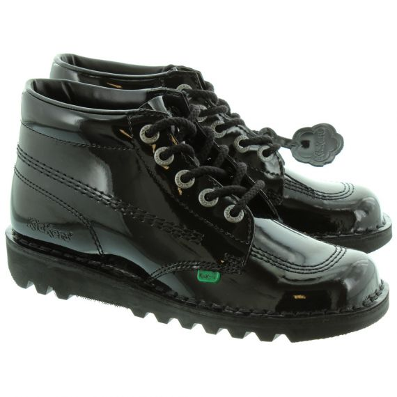 KICKERS Leather Kick Hi Ladies Lace Boot in Black Patent
