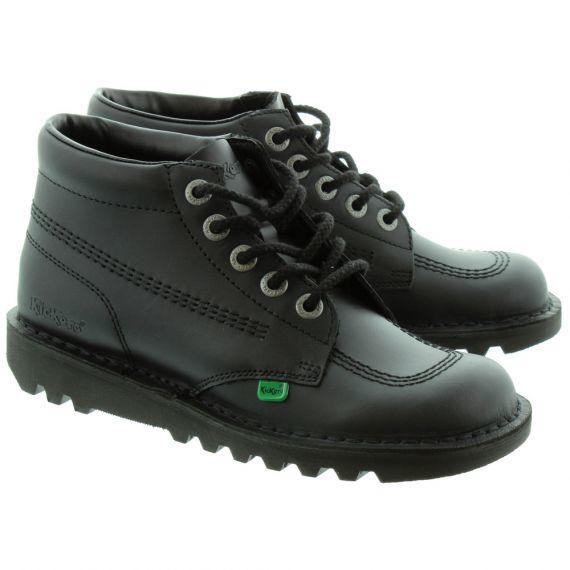 KICKERS Leather Kick Hi Ladies Lace Boot in Black