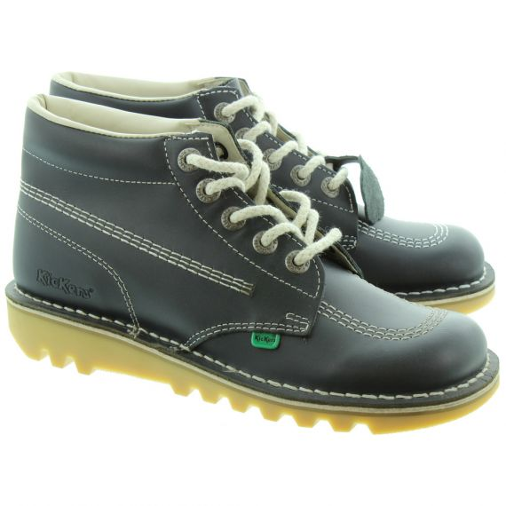 KICKERS Leather Kick Hi Ladies Lace Boot in Navy