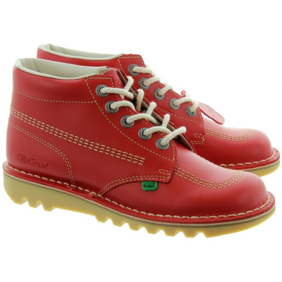 KICKERS Leather Kick Hi Ladies Lace Boot in Red