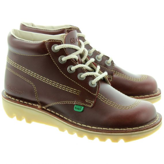 KICKERS Leather Kick Hi Mens Lace Ankle Boots in Burgundy