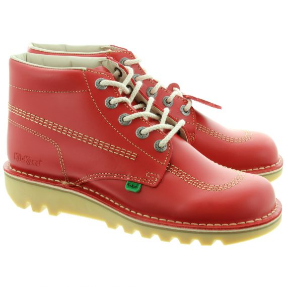 KICKERS Leather Kick Hi Mens Lace Ankle Boots in Red