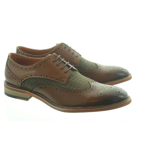 PAOLO VANDINI Mens Coy Tweed Lace Shoes In Tan