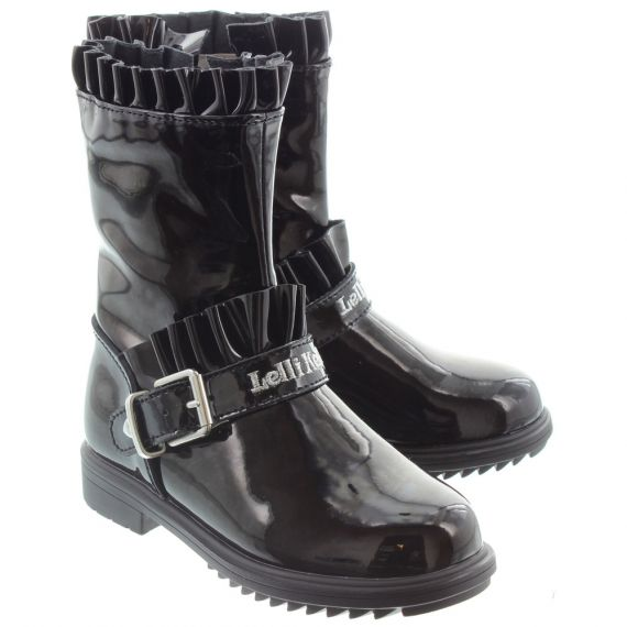 LELLI KELLY Kids LK3640 Norma Frill Boots In Black Patent