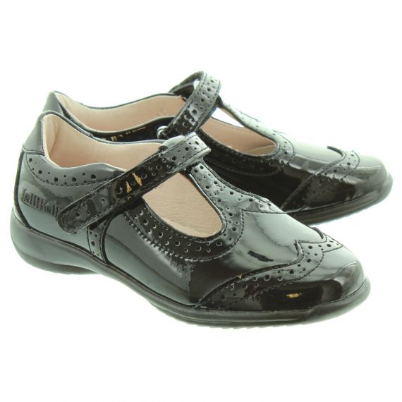 LELLI KELLY LK8216 Jennette Velcro T-Bar School Shoes in Black Patent