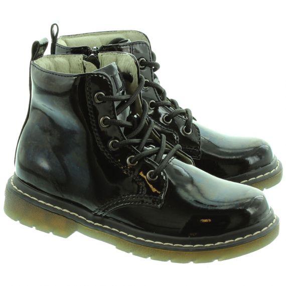 LELLI KELLY LK8276 Paris Ankle School Boots in Black Patent
