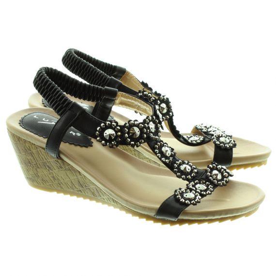 LUNAR Cally JLH780 Wedge Sandals in Black