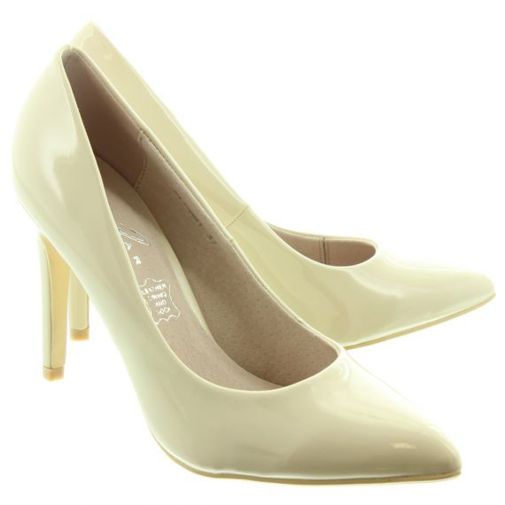 LUNAR Ladies Powell 2 Court Shoes In Beige Patent