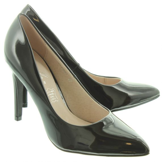 LUNAR Ladies Powell 2 Court Shoes In Black Patent
