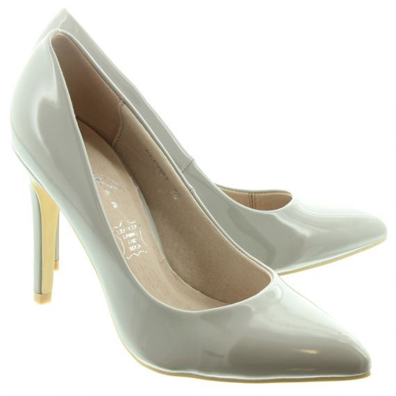 LUNAR Ladies Powell 2 Court Shoes In Grey Patent
