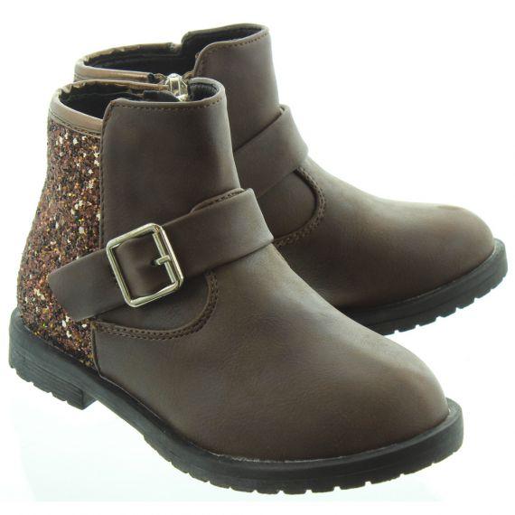 LUNAR Kids Victoria Glitter Boots In Brown