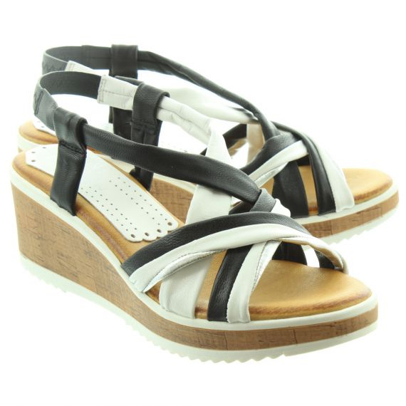 MARILA Ladies 315 Wedge Sandals In Black And White