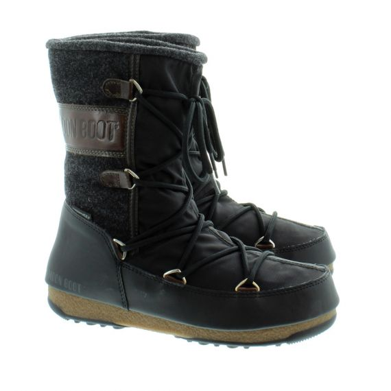 MOONBOOT Ladies Vienna Felt Waterproof Moonboots In Black