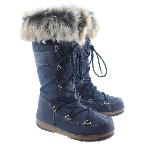 Ladies Waterproof Monaco Fur Moon Boots In Denim