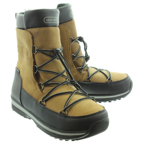 MOONBOOT Mens Lem Leather WP Boots In Brown