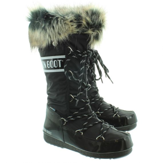 Monaco Fur Moon Boots in Black