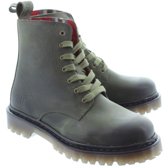 OAK AND HYDE Ladies Brixton 7 Lace Boots In Green