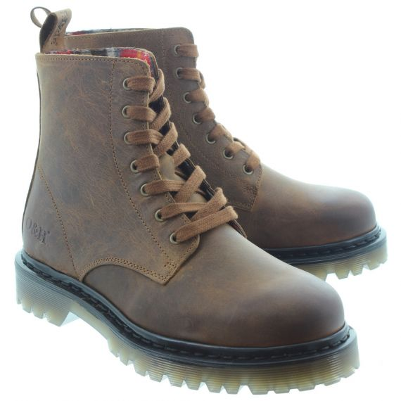 OAK AND HYDE Ladies Brixton 7 Lace Boots In Tan
