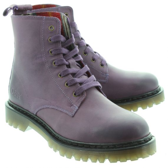 OAK AND HYDE Ladies Brixton 7 Lace Boots In Purple