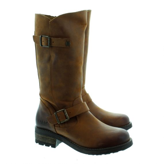 OAK AND HYDE Ladies Crest Leather Calf Boots In Tan