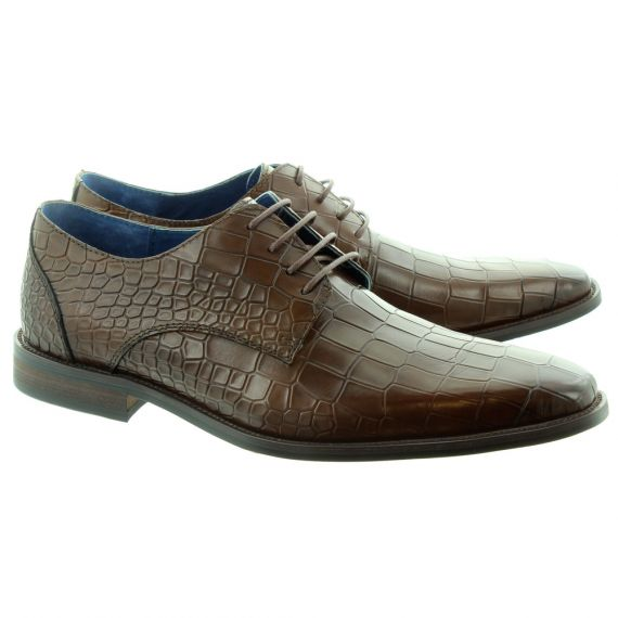PAOLO VANDINI Mens Teilo Croc Lace Shoes In Brown