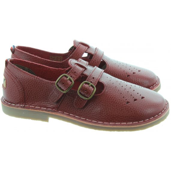 POD Ladies Marley T-Bar Shoes In Dark Red