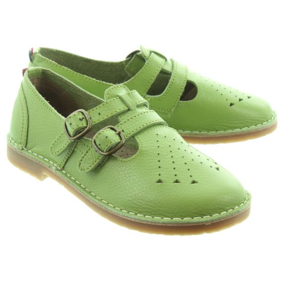 POD Ladies Marley T-Bar Shoes In Sage Green